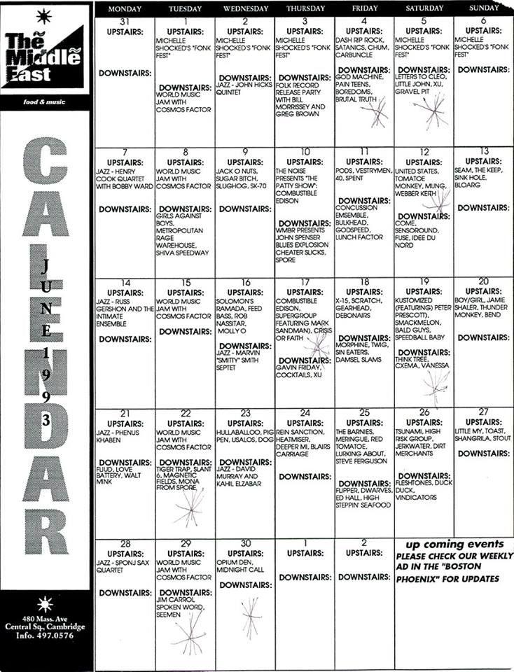 The Middle East Cambridge Ma June 1993 Calendar Girls Against