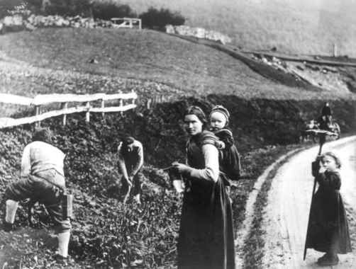 Høyonn i Hardanger, Hordaland,1885-90-årene. Menn slår skrabbslått med stuttorv, mens rakstekulla står på veien med riva. I veikanten står e...