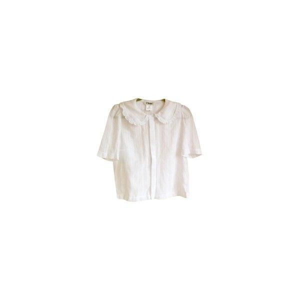 chloe White Cotton Blouse peter Pan collar CHLOÉ (152.235 CLP) ❤ liked on Polyvore featuring tops, blouses, shirts, shirt blouse, white blouses, white cotton shirt, cotton shirts and peter pan blouse