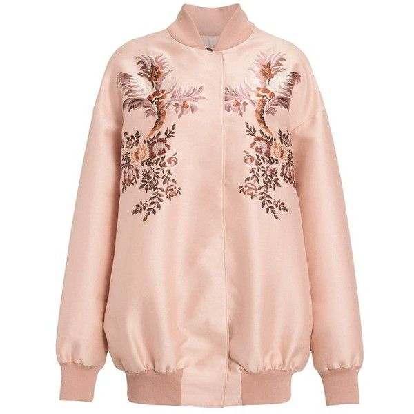 Women's Stella Mccartney Floral Embroidered Duchesse Satin Bomber... (3,605 CAD) ❤ liked on Polyvore featuring outerwear, jackets, stella mccartney, pink jacket, bomber style jacket, oversized jacket and blouson jacket