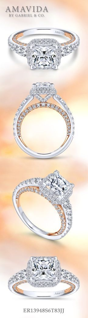Gabriel NY - Voted #1 Most Preferred Fine Jewelry and Bridal Brand. 18k White/Rose Gold Princess Cut Double Halo Engagement Ring
