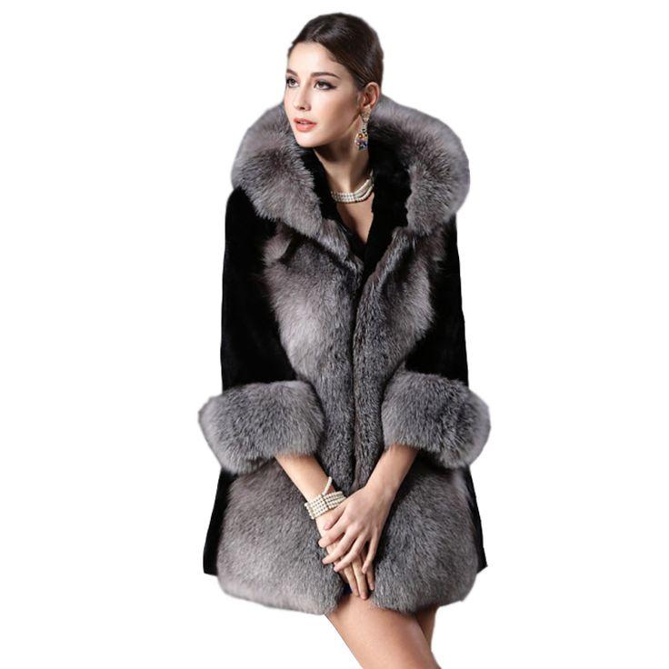 2016 New Winter Fashion Long Faux Fox Mink Fur Coat With Hooded Women Slims Long Fake Fur Vests Fur Coat Female Jackets