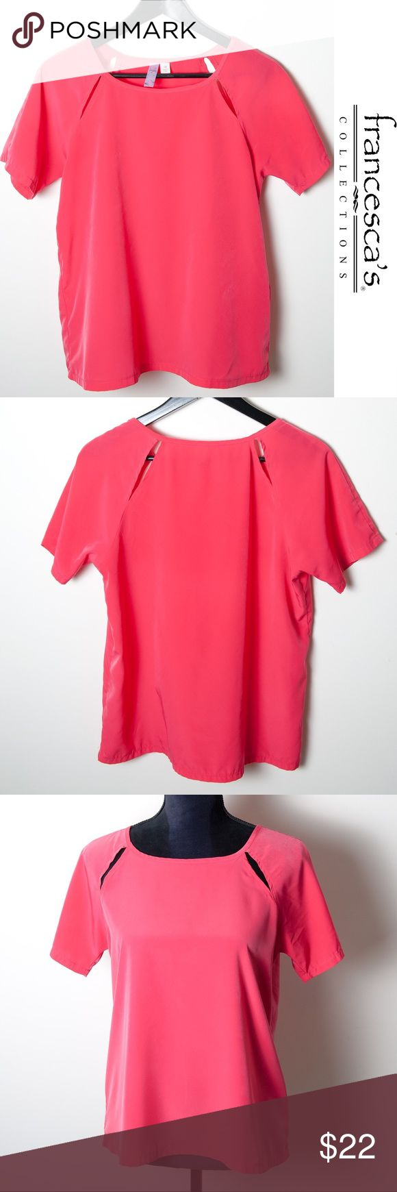 Franchesca's Alya Pink Short Sleeve Top Cutout Med Fantastic preloved condition Alya top from Francesca's, size medium. Bright pink top with cutouts on front and back. Short sleeve. Francesca's Collections Tops Blouses