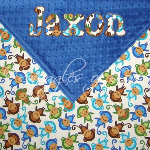 Baby Boy Monkey Blanket, Blue Monkeys and Minky Baby Blanket -- PERSONALIZED on Etsy, $54.00