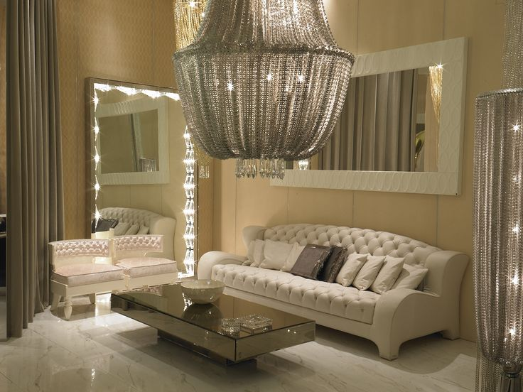 Furniture: Oversized Beaded Chandelier Plus Luxury Living Room Furniture  Featured Tufted Sofa Design And Captivating Floor Length Mirror With  Lighting Live ... Part 83