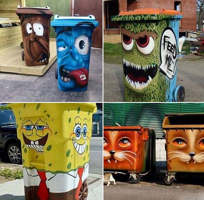 25 best ideas about painted trash cans on pinterest for Creative art from waste