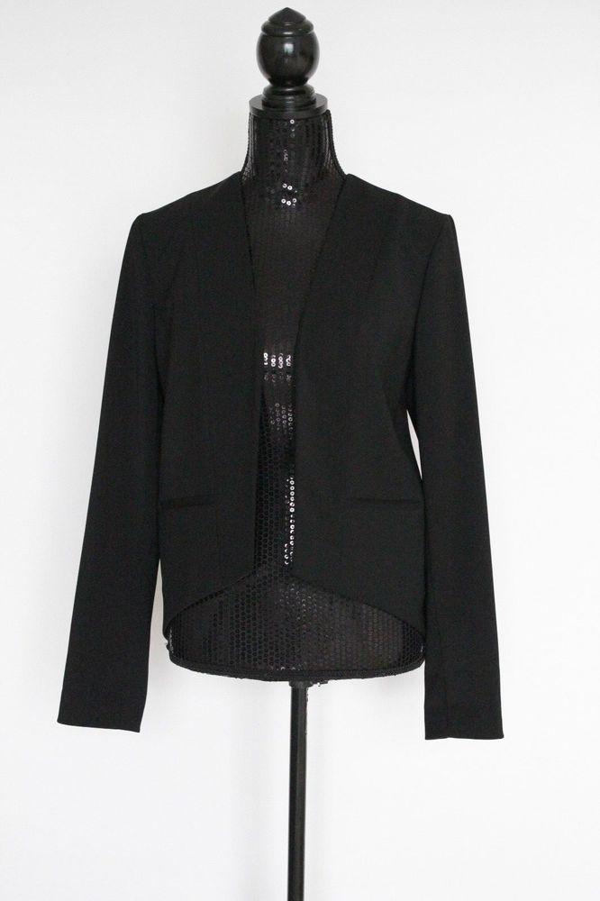 TAHARI Womens Black Open Front Long Sleeve Hi Low Blazer Size 6  fashion   clothing 2c362f1bc