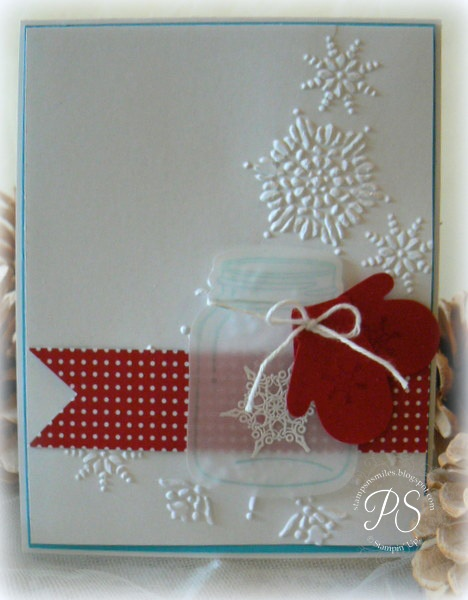 winter card ... luv the frostly vellum jar ... Stampin' Up ...