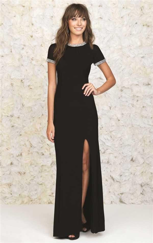 Madison James 15-232M Short Sleeves Beaded Long Black Slit Evening Dresses Discount