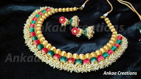 A very beautiful pattern ever in silk thread jewelery..loreal statement neckset... colours can be customized.. for placing orders inbox or whatapp @ 8050398758 plz visit our page  https://m.facebook.com/ankaa.creations for more collections