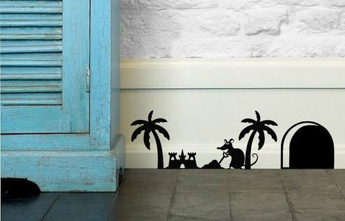 Funny Mouse 'Building Sandcastles' Wall Stickers for Doors, Walls, Skirting.