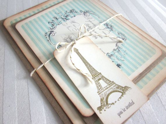 Vintage Parisian Wedding Invitations by Anista Designs