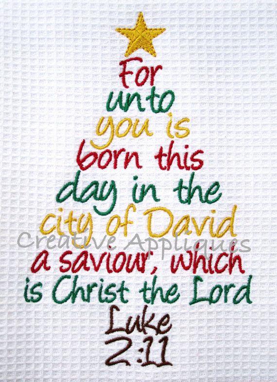 Christmas Tree Word Art Luke 2:11 Digital by Creativeapplique