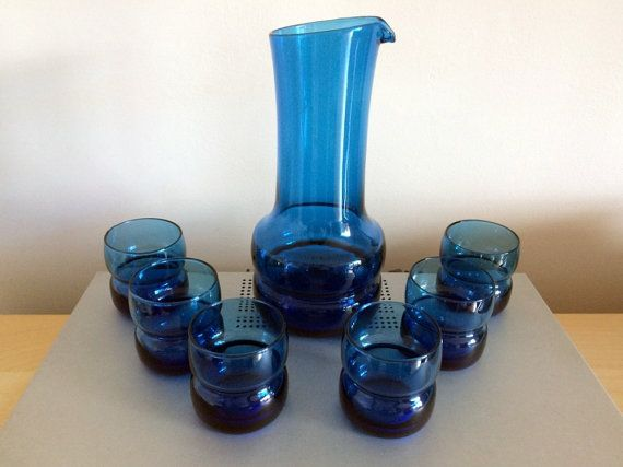 Modernist Blue Glass Cocktail Set ? Scandinavian/Bo Borgstr�m Style - Hand-less Pitcher with Six Glasses - Blenko Style Blue