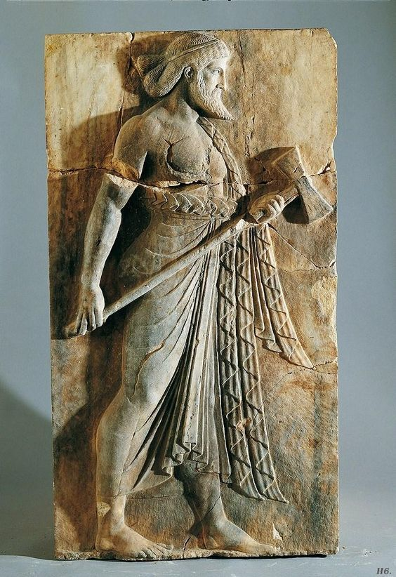 Vulcan Hephaestus, Roman relief marble from Herculaneum, 1st century B.C.-1st century A.D. Museo Archeologico Nazionale, Naples