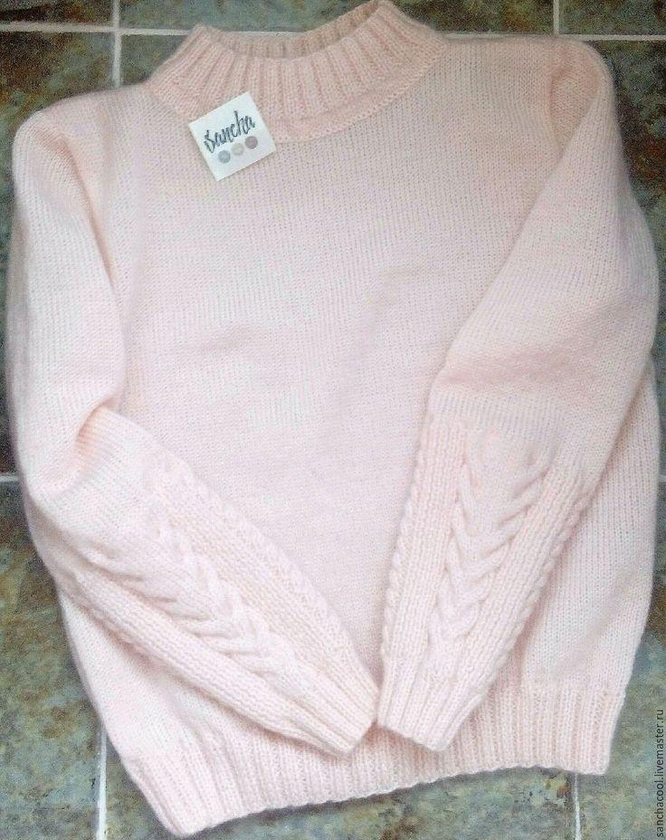 Купить Свитер из ангоры нежно розового цвета - свитер, джемпер, кофта, из ангоры, из мохера, с косами