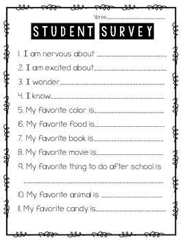 Back To School Student Survey A Great Way To Get To Know Your Students