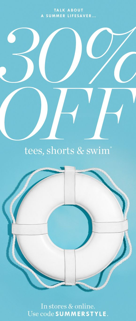 Email Marketing 30% Off Tees, Shorts & Swim (plus, free shipping on all orders with a J.Crew Card)