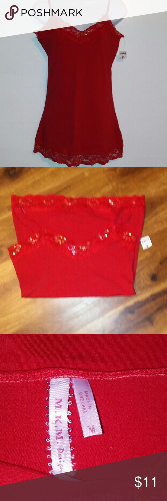 NWT RED TANK Super cute red tank top with sequins on bottom and tip. Medium  Buy one item and get $2 off each additional item purchased.  Lots not posted yet so if you are looking for something and do not see it ask me, I just might have  It. Tops Tank Tops