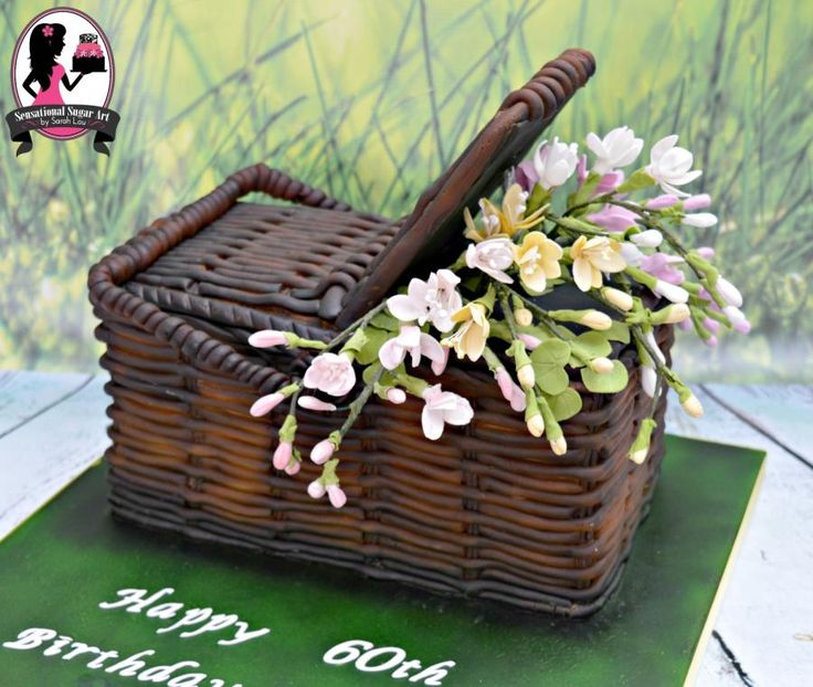 Wicker Basket filled with Freesia Cake by Sensational Sugar Art by Sarah Lou