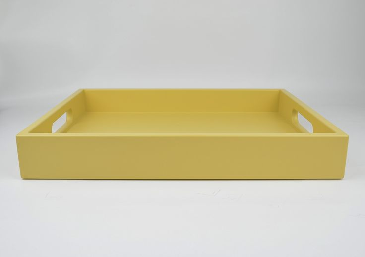 """Decorative Tray with Handles Handmade Wood Lacquer Serving Tray Golden Yellow. A handcrafted wood tray with handles in velvet matte or gloss luster lacquer is synonymous with style. It's the perfect size for serving up your favorite morsels, corralling items on the coffee table, or creating that portable chic mini-bar. Available in a variety of sizes. Square: 12""""x12"""", 16""""x16"""" Rectangle: 14""""x18""""."""