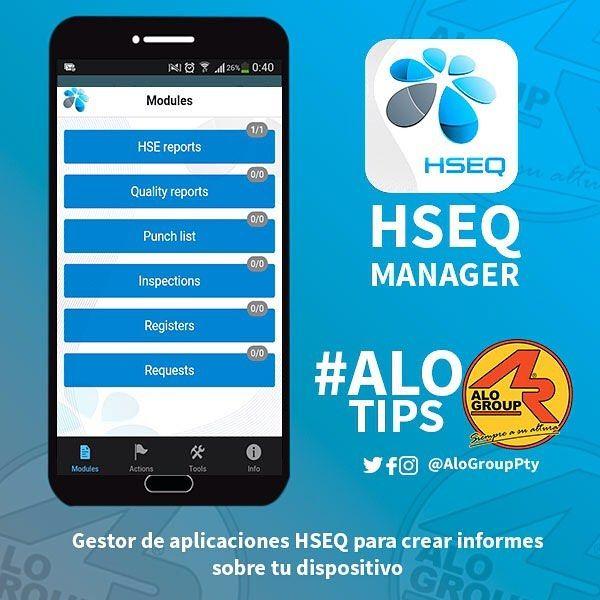 Esta aplicación esta diseñada para ayudar a las compañías a hacer reportes HSEQ desde tu Android iPhone o iPad para evitar usar tanto papeleo y efectuar los reportes de manera efectiva. Permite al usuario crear un reporte remoto y luego enviar sus requerimientos.  Es necesario registrarse en su website.  #AloGroupPty #Pty #Gruas #PlataformasDeAltura #JGL #Transporte #Cargas #Industria #AloTips #Apps #HSEQ