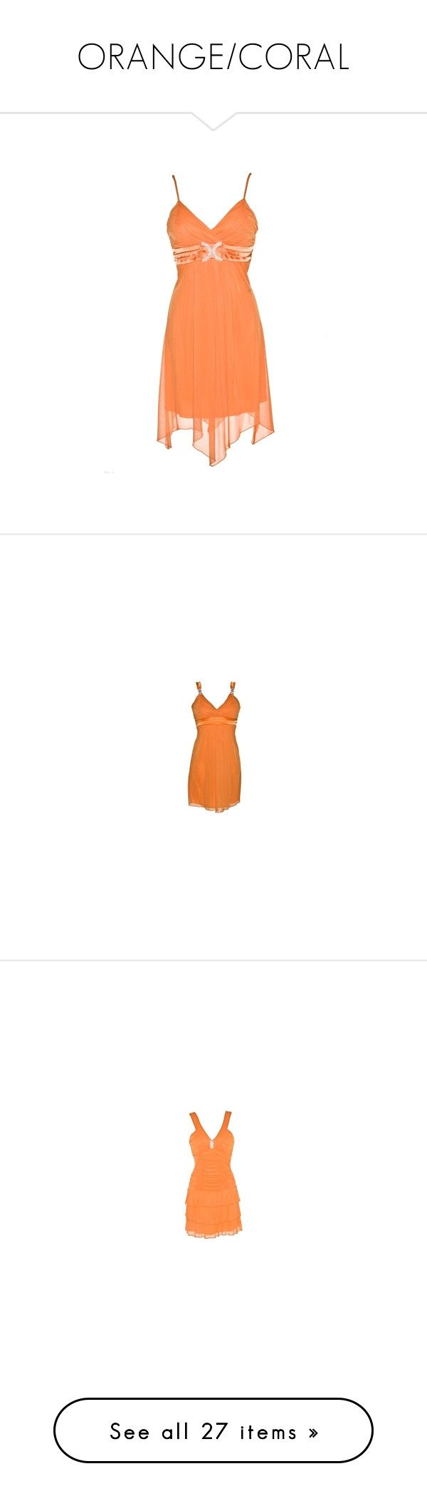 """""""ORANGE/CORAL"""" by fashionqueen866 ❤ liked on Polyvore featuring dresses, red dress, sparkly dresses, dot dress, red polka dot dress, polka dot dress, rhinestone dress, cross over dress, surplice dress and red cocktail dress"""