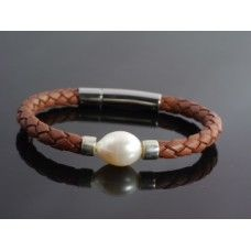 Primrose Bracelet - available in tan and black and materials include Leather, Sterling Silver, Pearl, Stainless Steel