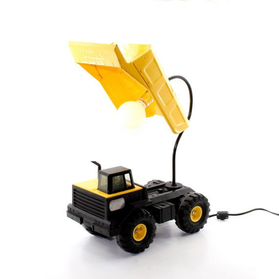 Tonka Construction Toys For Boys : Tonka truck lamp yellow vintage dump by