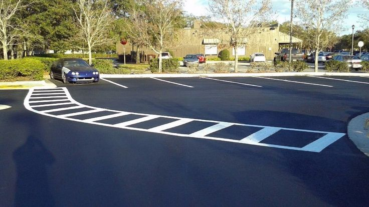 Crosswalk in parking lot from door to playground.  Natural Playground