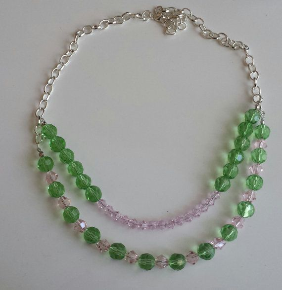 AKA Pink & Green Glass Beaded Necklace