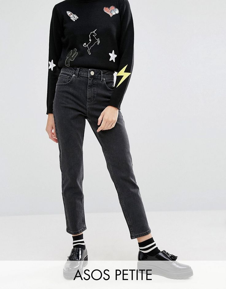 ASOS PETITE Farleigh Slim Mom Jeans In LuLu Washed Black at asos.com
