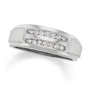 Men's 1/5 CT. T.W. Diamond Double Row Band in 10K White Gold - View All Rings - Zales