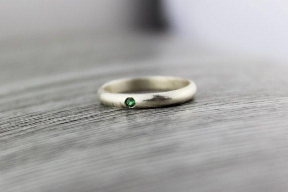 Emerald Silver Ring. Swarovski Emerald Ring. by TempestSociety