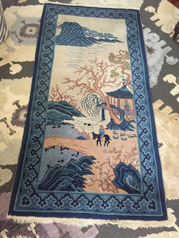 Vtg Antique Chinese Anese Wool Rug Asian Scene Hand Made Thick Chineseanese 3 Ft
