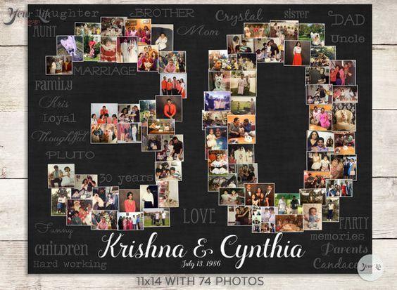 30th Wedding Anniversary Gift, 30th Birthday Gift, 30th Birthday Gift, 30th Birthday Gift, Photo Collage