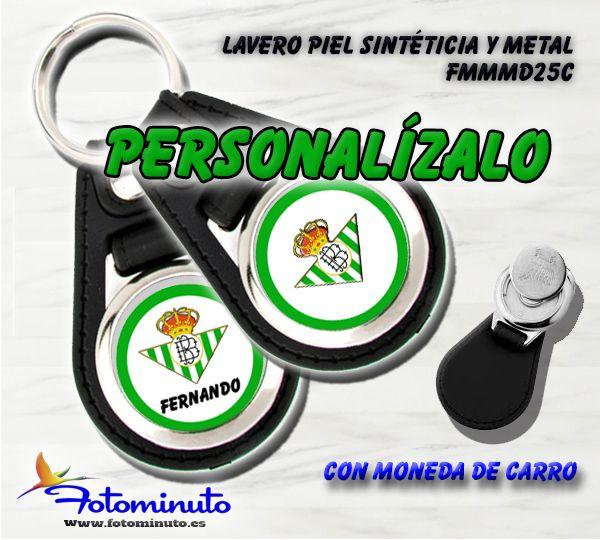 Llavero personalizado Real Betis con moneda para el carro