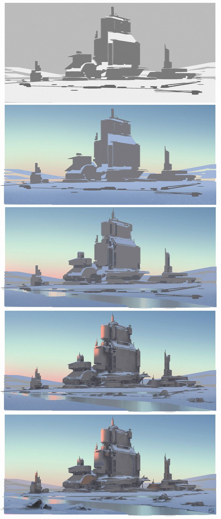 ArtStation - Abandoned facilities, step by step, process painting, how to paint a cold scene, background painting