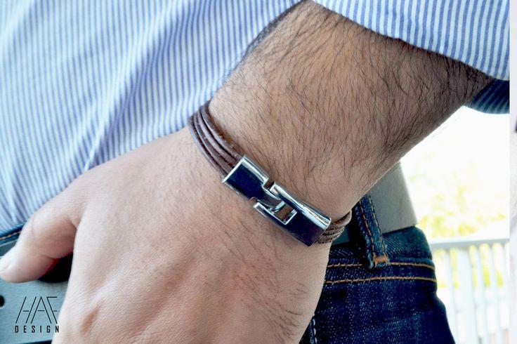 Bracelet en CUIR Pour Homme ou femme Marron, fermoir en acier inoxydable : Bijoux pour hommes par haf-design