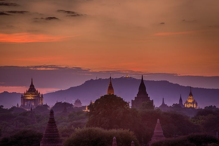 A fascinating light emerges when the artificial light over the biggest temples in Bagan mixes with the last colors of the sunset. Photo: John Einar Sandvand More photos: http://sandvand.net/photography-myanmar-marvelling-temples-bagan