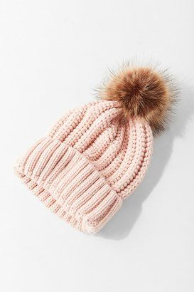 9e8780bf43dc8 Shop Urban Outfitters Chunky Knit Faux Fur Pompom Beanie on ShopStyle.com