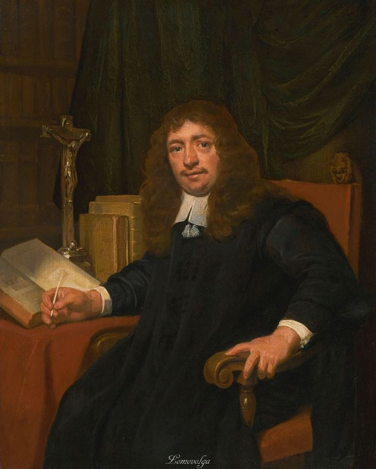 Jan de Bray HAARLEM CIRCA 1627 - 1697 PORTRAIT OF A MAN SEATED AT A TABLE IN HIS STUDY oil on oak panel 40.7 x 33.1 cm.; 16 x 13 in.