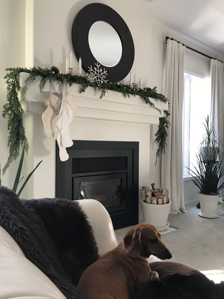 Fireplace Mantel with Dachshund