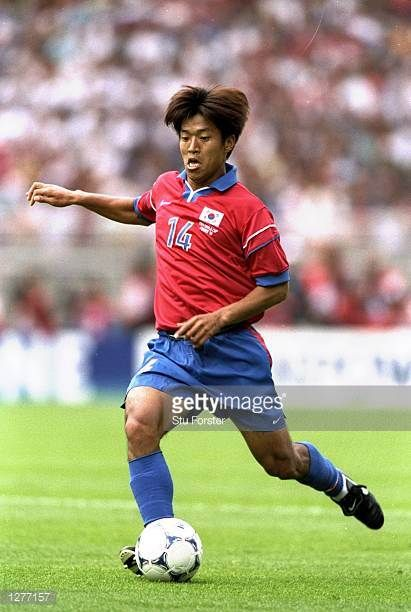 Ko JongSoo of South Korea on the ball during the World Cup group E game against Mexico at the Stade Gerland in Lyon Mexico won the match 31 Mandatory...