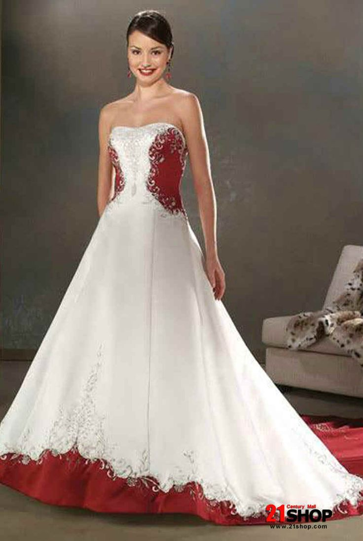 white red wedding dress