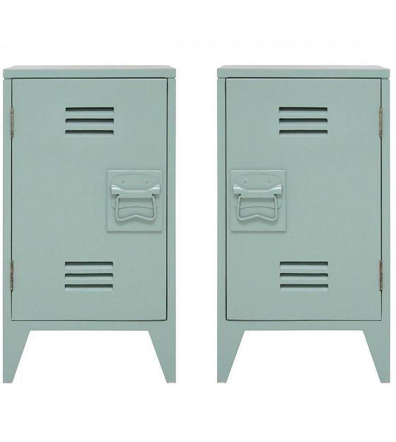 HK-living Nachtkastje locker set van 2 groen hout 65x36x33cm - wonenmetlef.nl