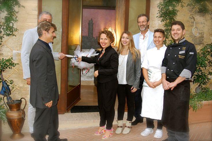 Best New Restaurant San Gimignano San Martino 26 Ribbon Cutting Ceremony with San Gimignano Mayor, Sindaco Giacomo Bassi along with owners Fabio & Lidia and family