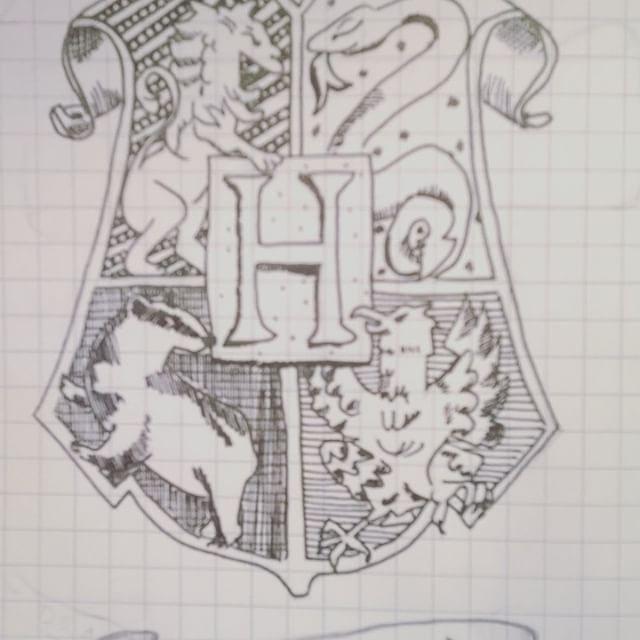 Hogwarts coat of arms drawing for bujo insta: @mosziszi