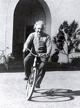 I thought of that while riding my bicycle.  -Albert Einstein on the Theory of Relativity