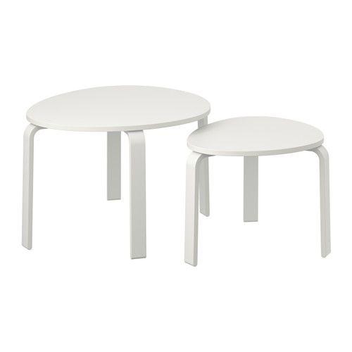IKEA - SVALSTA, Satsbord, set om 2, vitbets,  , , Kan användas var för sig, eller skjutas ihop för att spara plats.